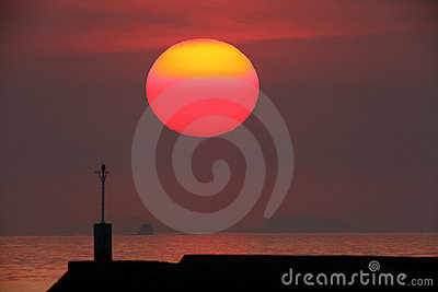 Large red sun