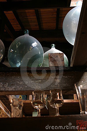 Large round bottles
