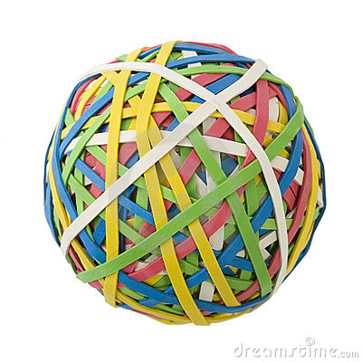 Free Large Rubberband Ball Over White Royalty Free Stock Images - 540229