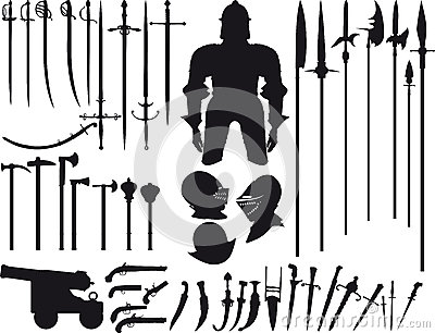 Large set of medieval weapons Vector Illustration