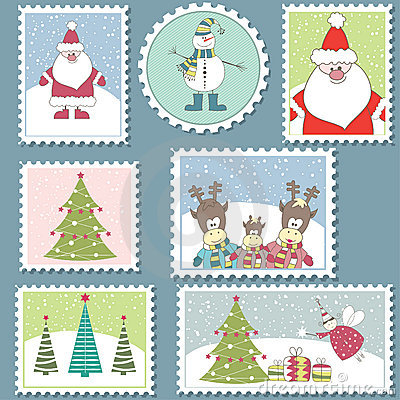 Free Large Set Of Christmas Stamps.Vector Illustration Royalty Free Stock Image - 16427716