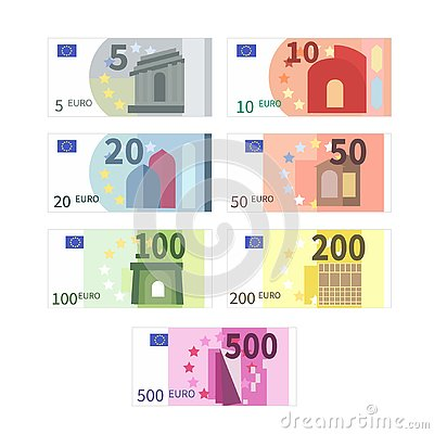 Free Large Set Of Different Euro Banknotes. Five, Ten, Twenty, Fifty, One Hundred, Two Hundreds And Five Hundreds Cupures On Royalty Free Stock Images - 138365369