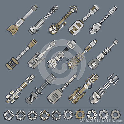 Free Large Set Of Weapons And Gears Stock Images - 40687324