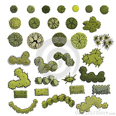 Free Large Set With Symbols Of Trees And Shrubs  In Plan View Whithout Shadow. Hand Drawn Ink And Colored Sketch. Royalty Free Stock Photography - 145192177
