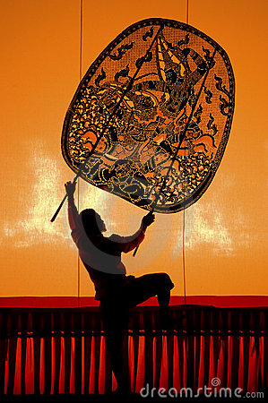 Thai performance art - Large Shadow Play Editorial Stock Image