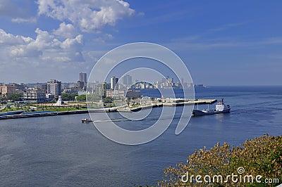 Large ship entering Havana Bay