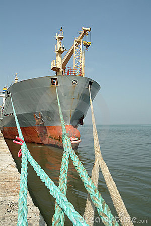 Large ship moored in the port