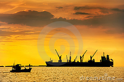 Large ship on sea