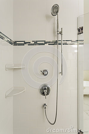 Large shower in an upscale home