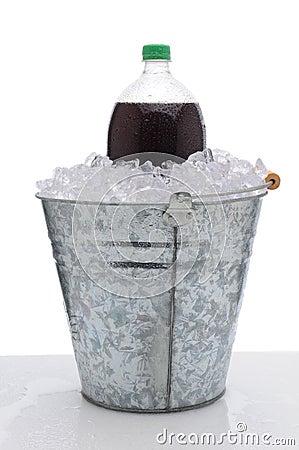 Large Soda Bottle in Ice Bucket