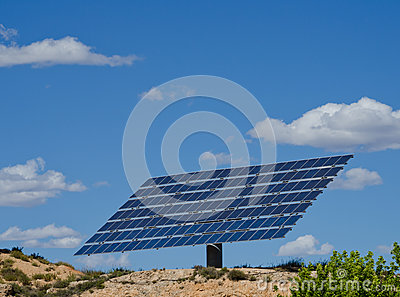Large solar panel on a hill