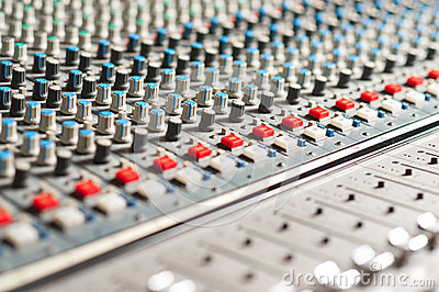 Large sound mixer equipment in studio