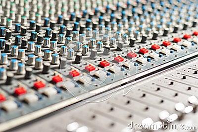 Large sound mixer equipment in studio