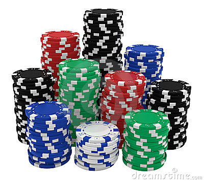 Large stacks of casino chips isolated on white