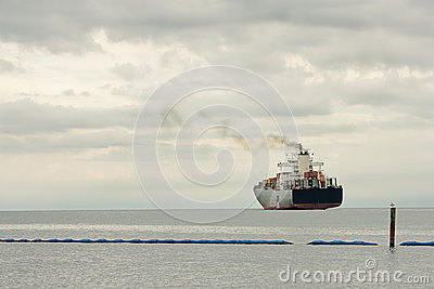 Large steamer leaving the harbor