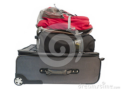 Large suitcases and backpack. Stock Photo