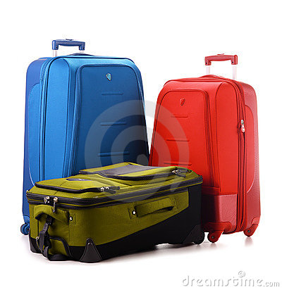 Large suitcases isolated on white