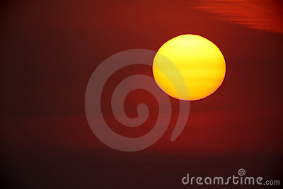 Large Sun Setting Stock Image - Image: 18774011