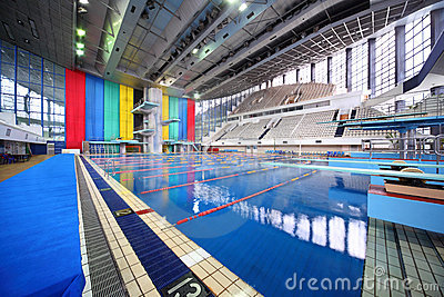 Large swimming pool with tribunes Editorial Stock Photo