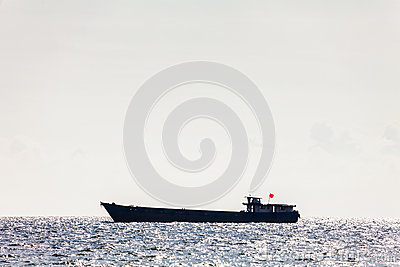 Large tanker ship in open sea