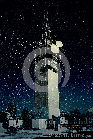 Large Telecommunications Tower in Snow