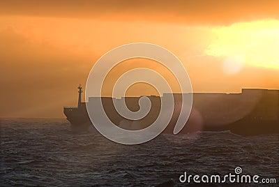Large transatlantic container tanker