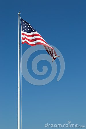 Large United States Flag and Blue Sky