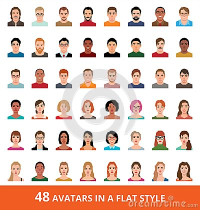 Free Large Vector Set Of Avatars Of Men And Women In A Flat Style Royalty Free Stock Photography - 99639757