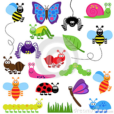 Free Large Vector Set Of Cute Cartoon Bugs Royalty Free Stock Image - 38754066