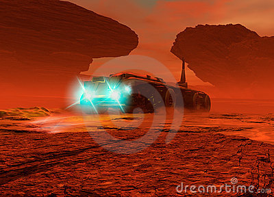 Large vehicle driving on the surface of Mars