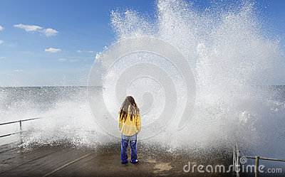 Tsunami wave over person