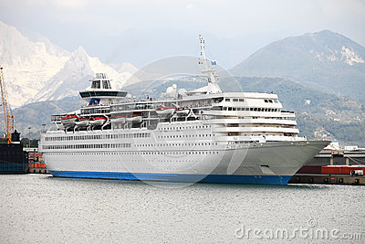 Large white passengers cruise ship