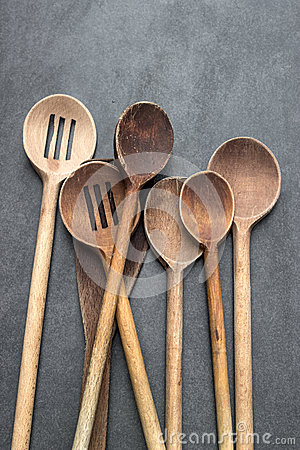 Large wooden mixing spoons