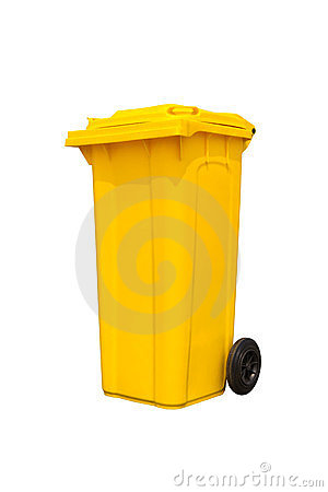 Large yellow trash can