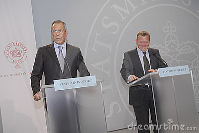 lars Lokke Rasmussen & Sergey Lavrov(L) Editorial Photo