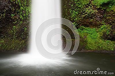 Las caídas espumosas en laguna del musgo se fueron