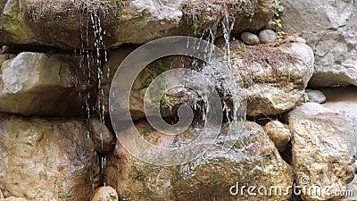 Las corrientes de agua de montaña puro fluyen sobre las piedras de la cascada almacen de metraje de vídeo