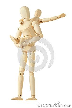 Las figuras de madera del niño que se sientan encendido mueven hacia atrás de padre