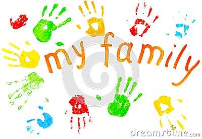 Las impresiones coloridas de las palmas del `s de la familia.