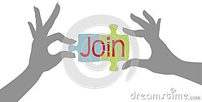 Las manos del miembro se unen a juntas rompecabezas