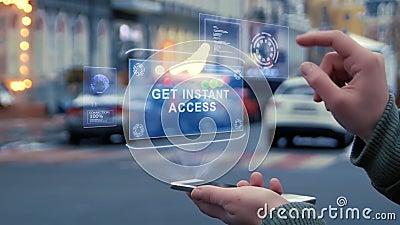 Las manos femeninas obran recíprocamente holograma de HUD consiguen el acceso inmediato almacen de metraje de vídeo