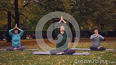Las mujeres jovenes de Spititual están meditando sentarse en la posición de loto respecto a las esteras de la yoga en el parque y almacen de metraje de vídeo