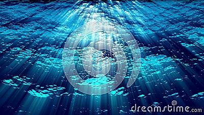 Las olas oceánicas subacuáticas ondulan y fluyen con los rayos ligeros