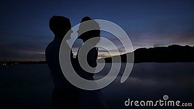 Las siluetas oscuras de la novia y del novio en un océano tropical varan en la puesta del sol Abrazos y besos sensuales almacen de metraje de vídeo