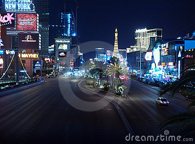 Las Vegas Blvd Night Editorial Stock Image