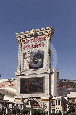 The Caesars Palace Sign in Las Vegas, NV on February 22, 2013 Editorial Stock Photo