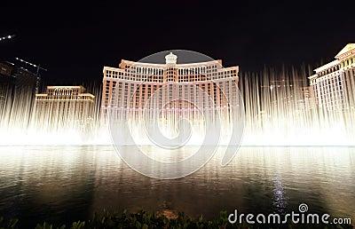 Las Vegas, Fontein toont bij Bellagio Casino Redactionele Stock Foto