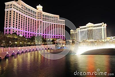 Las Vegas landmark at night Editorial Stock Photo