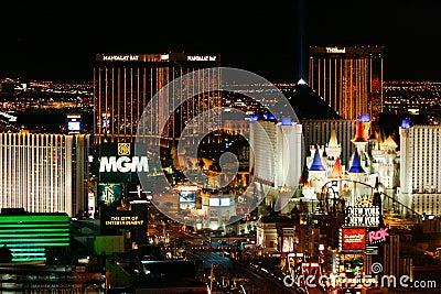 Las Vegas Lights at Night Editorial Stock Photo