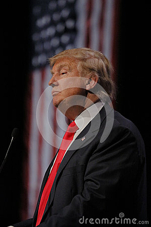 Free LAS VEGAS NEVADA, DECEMBER 14, 2015: Republican Presidential Candidate Donald Trump Profile And Flag At Campaign Event At Westgate Stock Photo - 66213750
